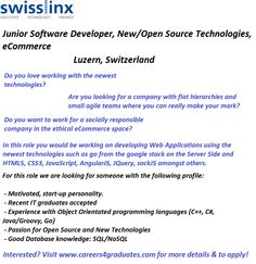 Looking for employment in Switzerland? This company are looking for a Junior Software Developer, New/Open Source Technologies, eCommerce to join them. Interested? #GraduateJobs