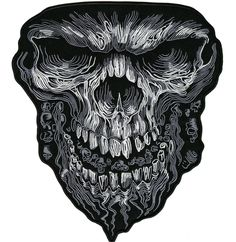 "[Single Count] Custom and Unique X Inch) ""Gothic"" Scary Intricate Sketched Gothic Skull Iron On Embroidered Applique Patch {Black and White Colors} Iron On Embroidered Patches, Embroidery Patches, Embroidered Jacket, Skull Stencil, Skeleton Face, Tiki Art, Skull Pictures, Biker Patches, Skull Patches"