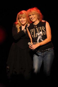 Stevie and Chrissie Hynde onstage after they finished performing a song during Stevie's Karat Gold Tour', on October in Houston, Texas; photo by Dave Rossman 10000 Maniacs, Chrissie Hynde, Buckingham Nicks, Stephanie Lynn, Stevie Nicks Fleetwood Mac, The Pretenders, Dynamic Duos, Women Of Rock, Rocker Chick