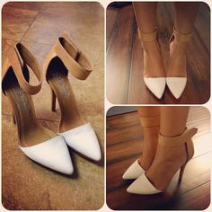 Absolutely Love These Jeffrey Campbell Solitaire Platform Pumps in White Patent & Tan Leather
