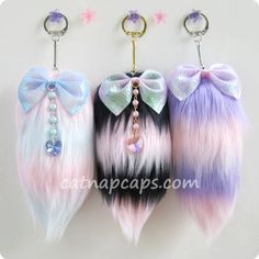 Customize your own fairy kei lolita striped tail any color combination lavender blue pink black and more. $17.00, via Etsy. 12,36e ♥