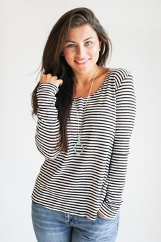 striped open back tee - gallery. boutique