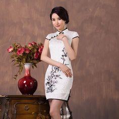 Spring And Summer Elegant Embroidery Cheongsam Dress For Women Fashion Female Vintage Slim Short Qipao Dress Black White
