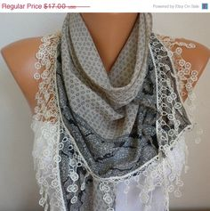 Scarf Shawl - Cotton Scarf - Weddings Scarves - Cowl with Lace Edge  - Beige