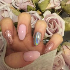 Pink glitter holographic almond nails