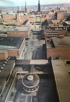 An aerial view of The Precinct looking towards Broadgate Coventry England, Coventry City, Council Estate, New Topographics, Sense Of Place, English Style, Slums, Aerial View, Great Britain