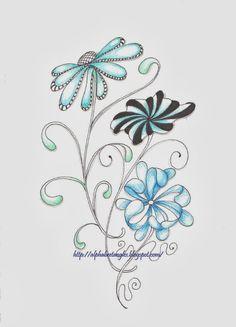 flowers zentangle inspired art
