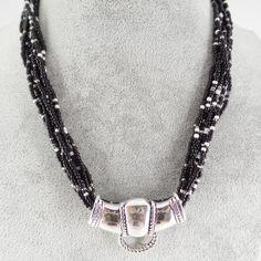 Black White Layered Bead Western Silver Horsebite Accessory Necklace Jewelry #Uniklookjewelry #layersbeaded