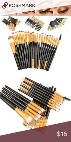 """20 pcs makeup brushes Features:  1.All meticulously designed for eye makeup application   2. Crafted from rich nylon fiber hair, extremely soft and silky to touch 3. Fine bristles blend the  ideal amount of pigment for a flawless result every time 4. Anti-slip  handle for precision operation 5. Compact size easily fits into your pouch 6. High quality, easy to wash clean  Dimensions: L X W X H: 7.87 X 472 X 0.20"""" MATERIAL: Plastic handle & nylon hair  Package includes: 20 x Makeup Brushes…"""