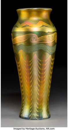 Large Tiffany Studios Decorated Gold Favrile Glass Vase Circa Engraved L.Tiffany-Favrile, (paper - Available at 2018 November 15 Tiffany,. Wine Bottle Wall, Bottle Vase, Tiffany Art, Tiffany Glass, Stained Glass Lamps, Pottery Sculpture, Vintage Bottles, Art For Art Sake, Glass Wall Art