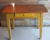 Antique Farm Table Nat Wood & Mustard Yellow Green from Blue Jay's Workshop on Etsy Antique Farm Table, Vintage Farm, Old House Decorating, Mustard Yellow, Mustard Seed, Garden Items, Outdoor Rooms, Wood Table, Painted Furniture