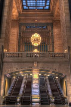 NYC. 45th Street's escalators, The Grand Central Station
