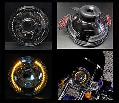 """35295 motorcycle-parts 7"""" Harley Motorcycle Amber LED Halo Turn Signal Black Chrome Projector Headlight  BUY IT NOW ONLY  $58.99 7"""" Harley Motorcycle Amber LED Halo Turn Signal Black Chrome Projector Headlight..."""