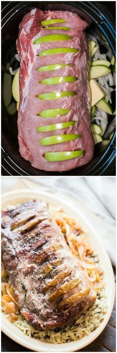 Slow Cooker Honey Apple Pork Loin is a beautiful and tender pork dinner. Apples are tucked into the pork loin and cooked with onions, butter, honey and a touch of cinnamon. Crock Pot Slow Cooker, Crock Pot Cooking, Slow Cooker Recipes, Cooking Recipes, Healthy Recipes, Pork Loin Slow Cooker, Apple Recipes, Pork Loin Crock Pot, Ground Turkey Slow Cooker
