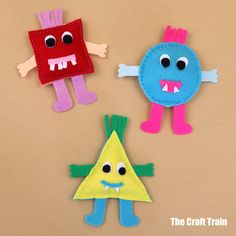 shape monsters free sewing pattern Fun Projects For Kids, Diy For Kids, Crafts For Kids, Arts And Crafts, Craft Patterns, Sewing Patterns Free, Free Sewing, Sewing Ideas, Sewing To Sell