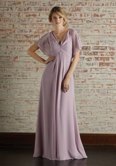 Chiffon Bridesmaid Dress with Capelet Style Sleeves and V-Neckline
