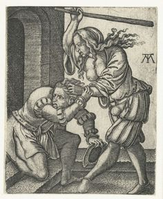 Battle for the pants, or Mistreatment of a husband.    Mishandeling van de echtgenoot, Monogrammist MT, 1540