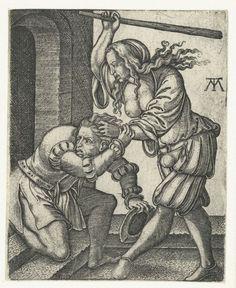 Battle for the pants, or Mistreatment of a husband.    Mishandeling van de echtgenoot, Monogrammist MT, 1540