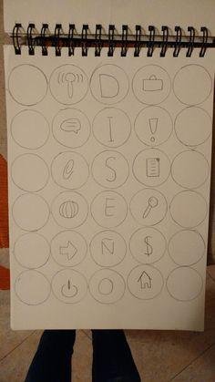 Boceto de diseño de una portada para un bloc de dibujo.