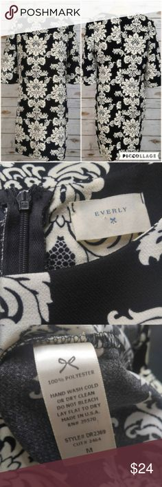 Everly Black and White Brocade Shift Dress Everly Black and White Brocade Shift Dress  Size medium in excellent used condition. Please feel free to ask any questions or bundle with other listings in my closet for a custom discount on your order. I ship the same day as long as the order is placed before 11:00 AM Central time. If you would like to be notified about price drops remember to 'like' the item to bookmark it! Thank you for checking out my closet and happy poshing!! Everly Dresses…