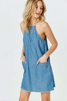 BDG High-Neck Chambray Shift Dress #UrbanOutfitters