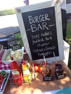 Food bars - The ever popular hamburger bar!! Build your own with pulled pork, beef patties onions, tomatoes, lettuce, and pineapple