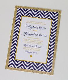 Payton Chevron Glitter Wedding Invitation Navy Blue and Gold by EmbellishedPaperie, $5.75