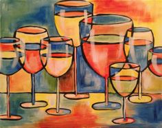 Colorful Wine Glasses painting  |  http://creativelyuncorked.com