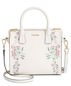 59b4620087 Calvin Klein Embroidered Small Crossbody Satchel & Reviews - Handbags &  Accessories - Macy's