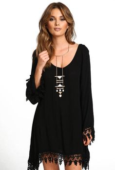 Shop Black Long Sleeve Lace Loose Dress online. Sheinside offers Black Long Sleeve Lace Loose Dress & more to fit your fashionable needs. Free Shipping Worldwide!