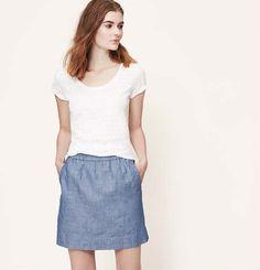 Chambray Pull-On Skirt | Loft