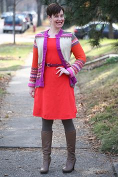 Already Pretty outfit featuring Fair Isle sweater, orange dress, brown tights, Coclico boots, magenta belt
