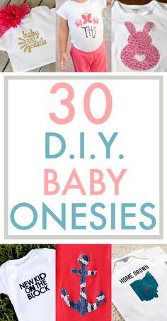 30 DIY Baby Onesies Roundup from The Thinking Closet