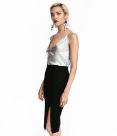 V-neck top in satin with a shimmering metallic finish. Narrow shoulder straps and decorative ties at back. Lined. Holiday Party Outfit, Holiday Outfits, New Years Outfit, Get Glam, Metallic Top, Silver Tops, Going Out Tops, Satin Top, V Neck Tops