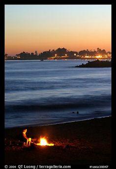 Bonfires at Santa Cruz Beach