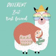 Hand drawn cute card with sloth Premium . Cute Animal Illustration, Cute Animal Drawings, Alpacas, Vintage Grunge, Llama Drawing, Cartoon Llama, Pineapple Wallpaper, Cute Llama, Unicorn Art
