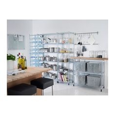 IKEA - OMAR, 2 shelf sections, Easy to assemble – no tools required.Also stands steady on an uneven floor since the feet can be adjusted. Ikea Kitchen Storage, Ikea Storage, Storage Spaces, Ikea Omar, Cupboard Lights, Bakery Kitchen, Kitchen Redo, Pantry Inspiration, Ikea Furniture