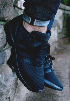 Adidas Zx Flux All Black On Feet
