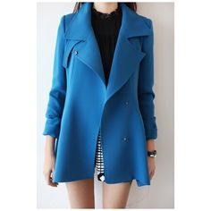 45056a3c5deb6 New Arrival Basic Simple Plain Notched Lapel Collar Fashion Trench... (140  PEN