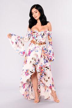 Crystal Maxi Dress - Ivory/Multi