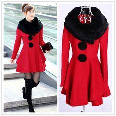 Fur Collar Slimming Solid Color Beam Waist Coat,