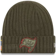 buy popular 2fccd 8d623 New Era Tampa Bay Buccaneers Olive 2017 Salute To Service Cuffed Knit Hat