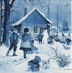 Ceramic collectible scenic tile featuring a winter scene of a Dutch community skating on the river which is painted by famous Dutch landscape artist JC van Hunnik. - Approximate Dimensions (Length x W
