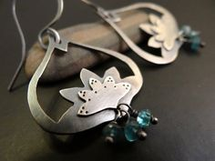 Lotus+Flower+Earrings++Sterling+Silver+with+by+LostSparrowJewelry