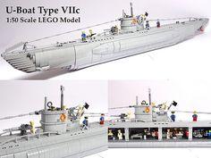 U-Boat VIIc 1:50 LEGO Model | Luis Peña | Flickr Lego Cars, Lego Plane, Lego Boat, Lego Ww2, Legos, Bateau Lego, Lego Submarine, Construction Lego, Big Lego
