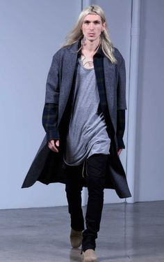 Fear of God third collection look book, short sleeve overcoat layered with oversized flannel and tank top paired with black trousers and Chelsea boots