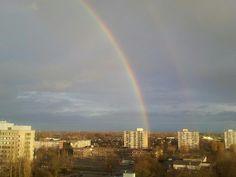 Dubbele regenboog bij Velp, gemaakt in december 2012. Foto: @AvanderBiezen