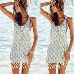 Ladies Sexy Tassel Boho Beach Casual Dress Summer Party Mini Dress UK Size 6-14 #Unbranded #Sundress #Casual