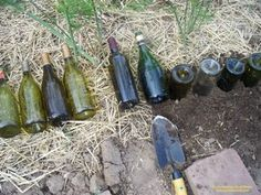 How to make a wine bottle garden border.