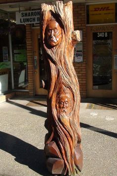 Hope British Columbia: Tree of Faces Carving by Karen Morton's Pics, via Flickr. www.HopeBC.ca Tree Logs, Wood Tree, Sand Sculptures, Chainsaw Carvings, Wood Carvings, Tree Art, Hand Carved, British Columbia, Theater